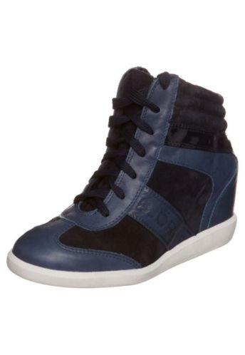 blauwe sneakers met sleehak